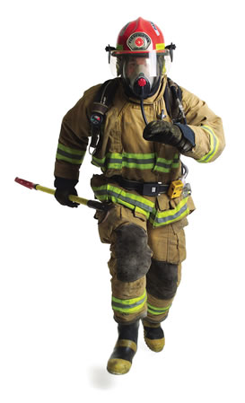 Firefighter running image